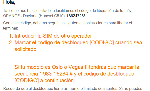desbloqueo movil orange por IMEI
