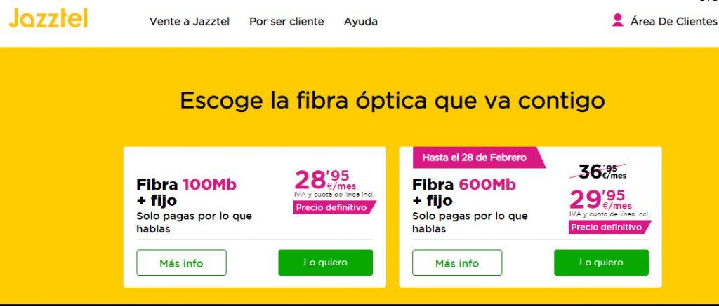 mejores tarifas de fibra